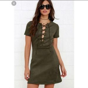 Lulu's Olive Green Suede Dress